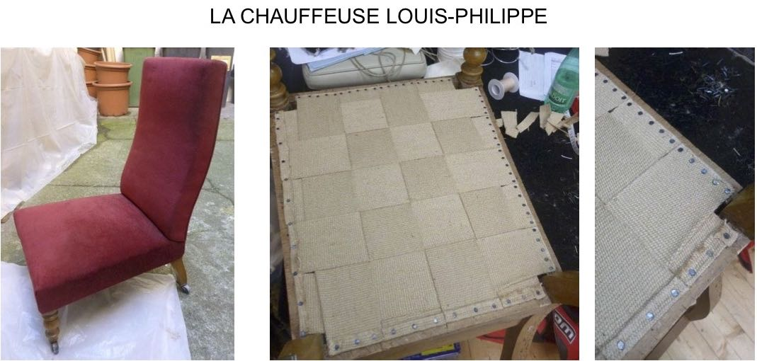 Bordeaux – Rénovation Fauteuils – Etapes réfection chauffeuse louis phillipe – sanglage