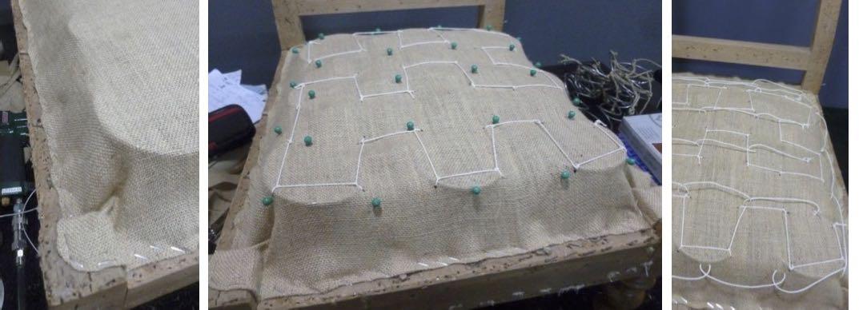 étapes restauration chauffeuse Louis Phillipe – Toile forte – Couture des ressorts – Lacets de crin