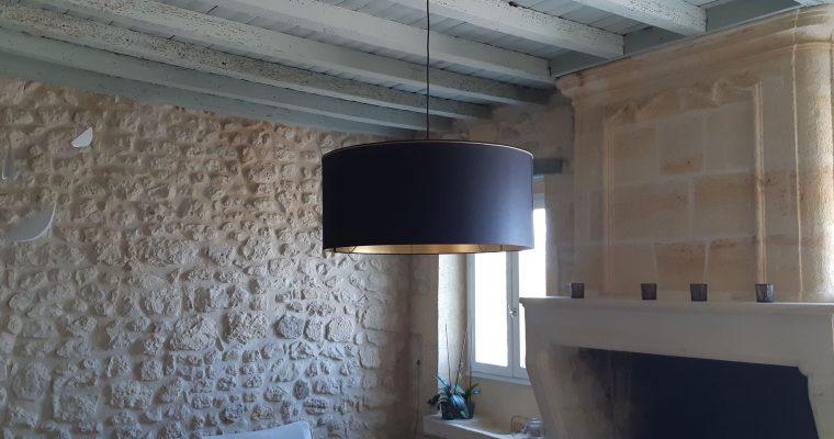 suspension-cylindre-noir-or-fabrication-création-artisanat d'art-Bordeaux-33