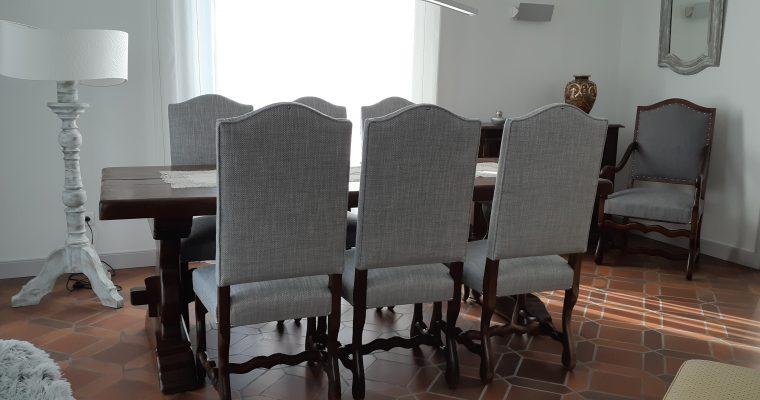 Léognan Couverture chaises – fauteuil de style Louis XIV – patine pied de lampe et miroir – création abat jour – Bordeaux Aquitaine – Artisan tapissier Décorateur