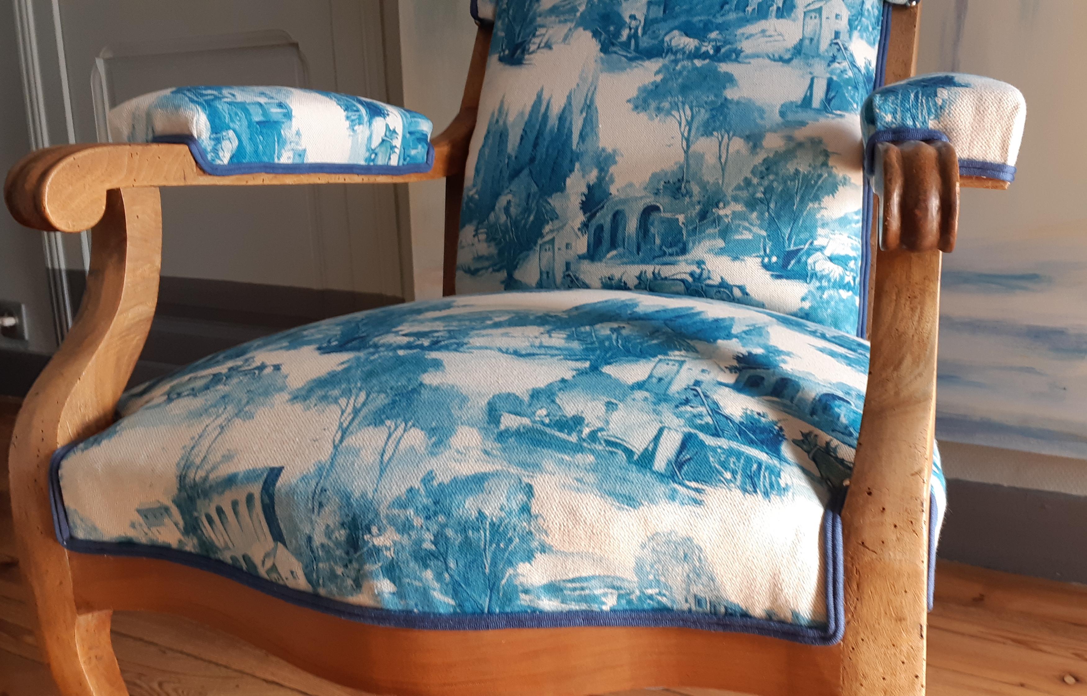 tapissier-décorateur-bordeaux-aquitaine-fauteuil voltaire à oreilles-toile de jouy