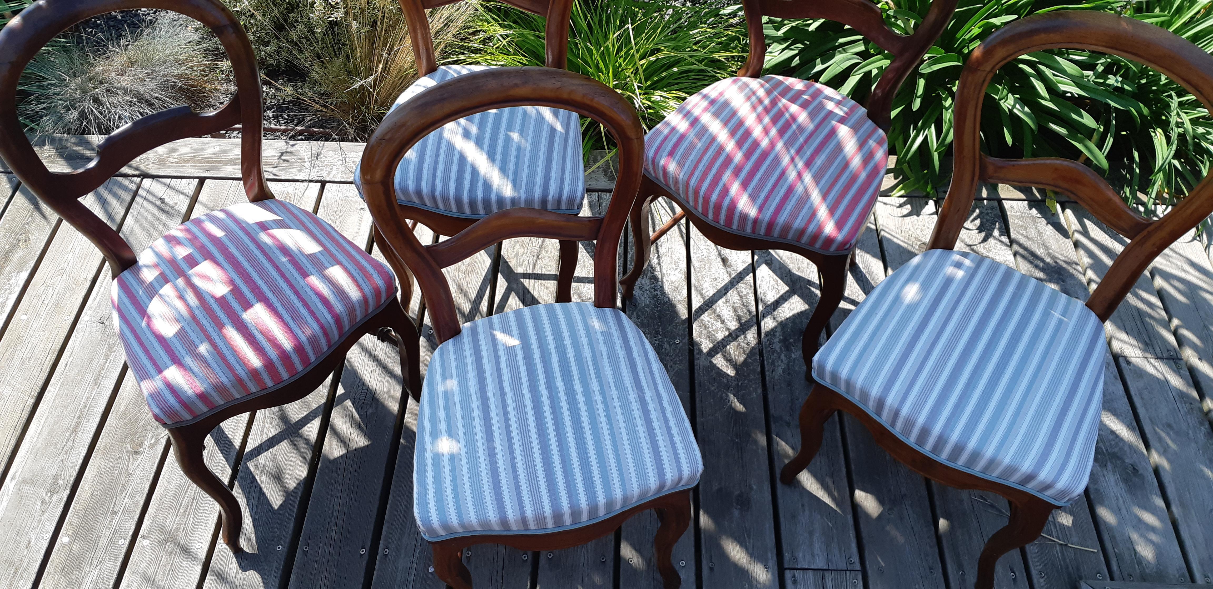 Rénovation chaises de style Louis Philippe – Tissu à rayures