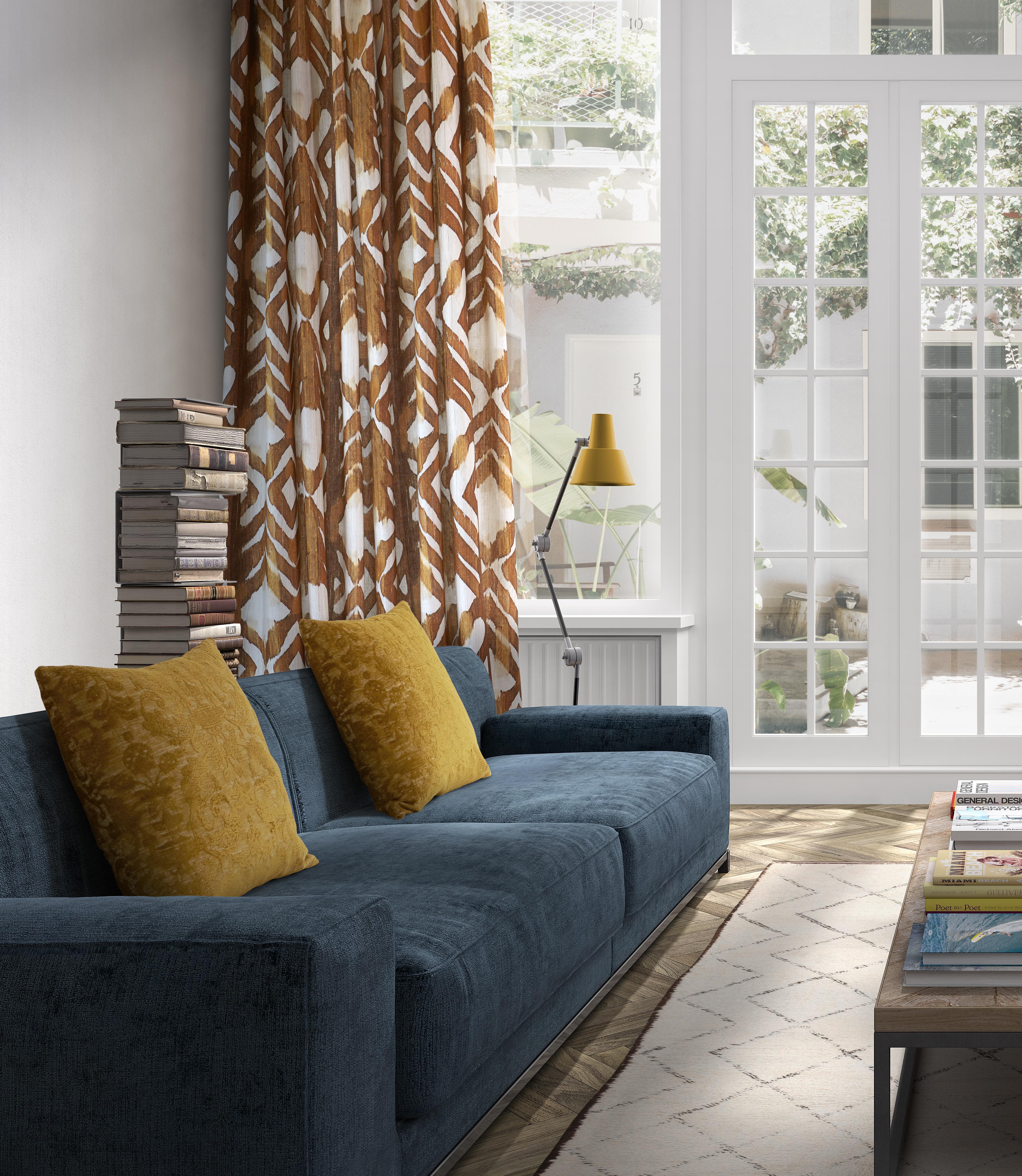 Confection rideaux sur mesure – Canapé et coussins